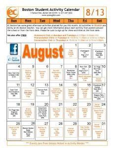 August 2013 Activity Calendar