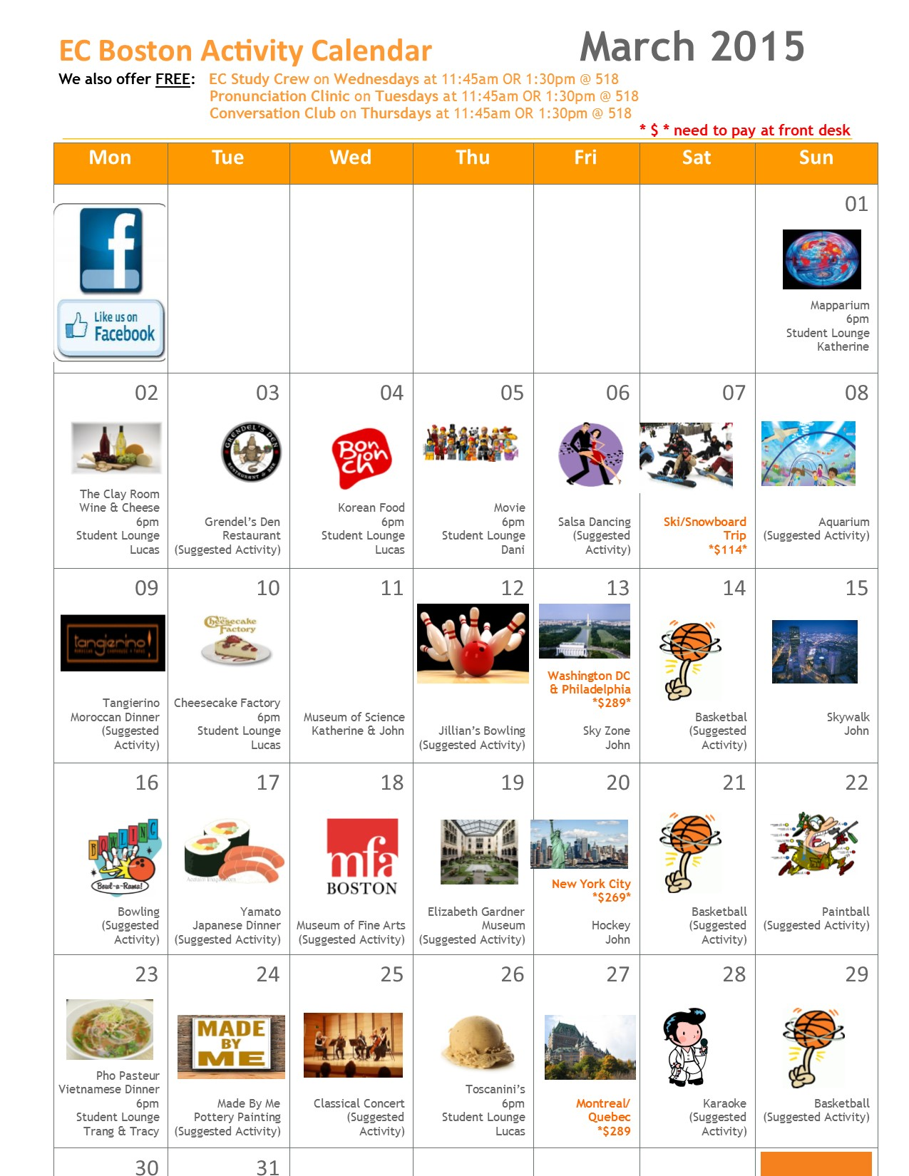 EC Boston's March Activity Calendar