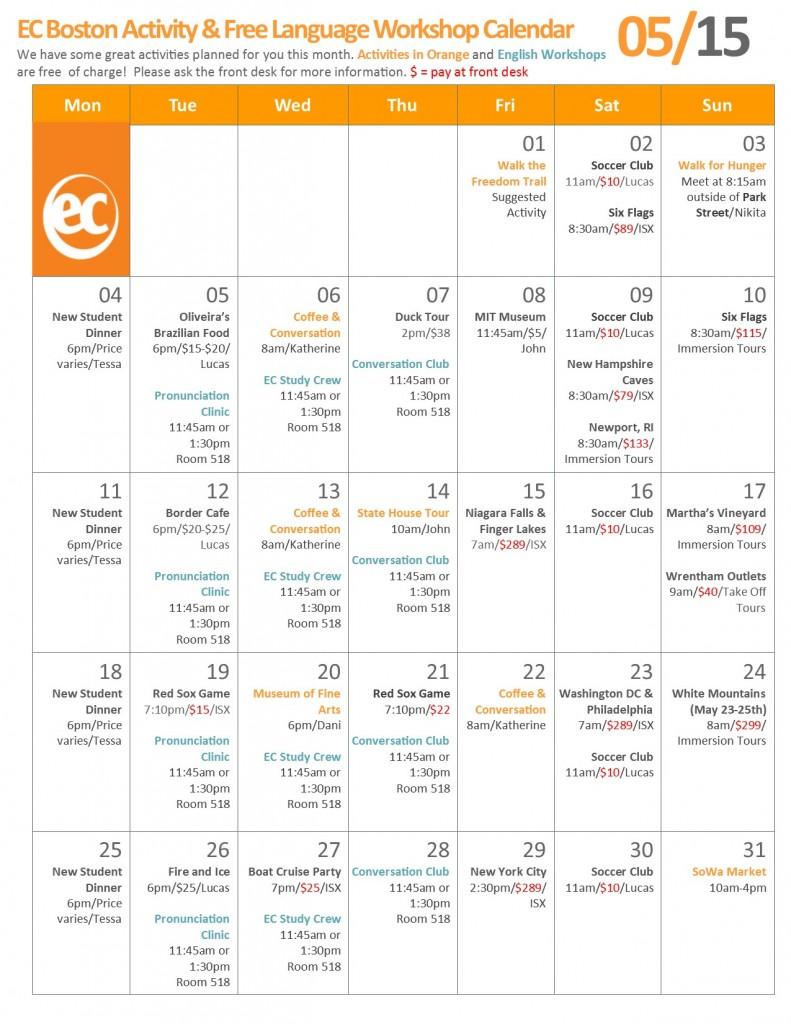 Learn English in Boston with EC - May Calendar