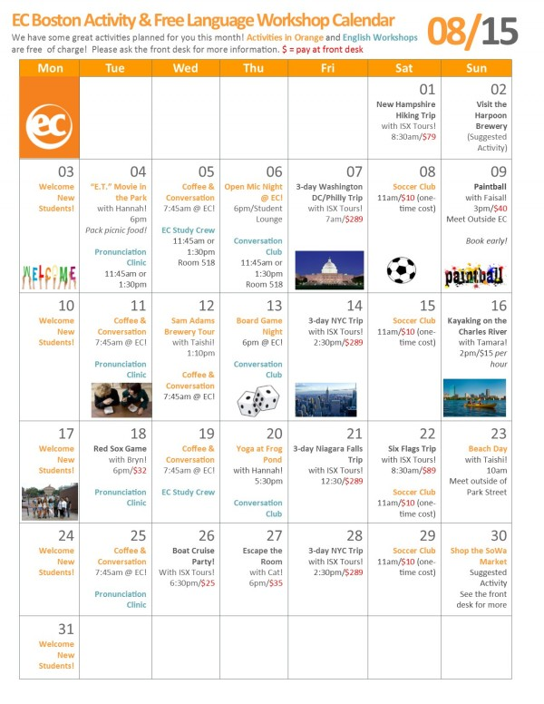 EC Boston Language Center August Calendar 2015