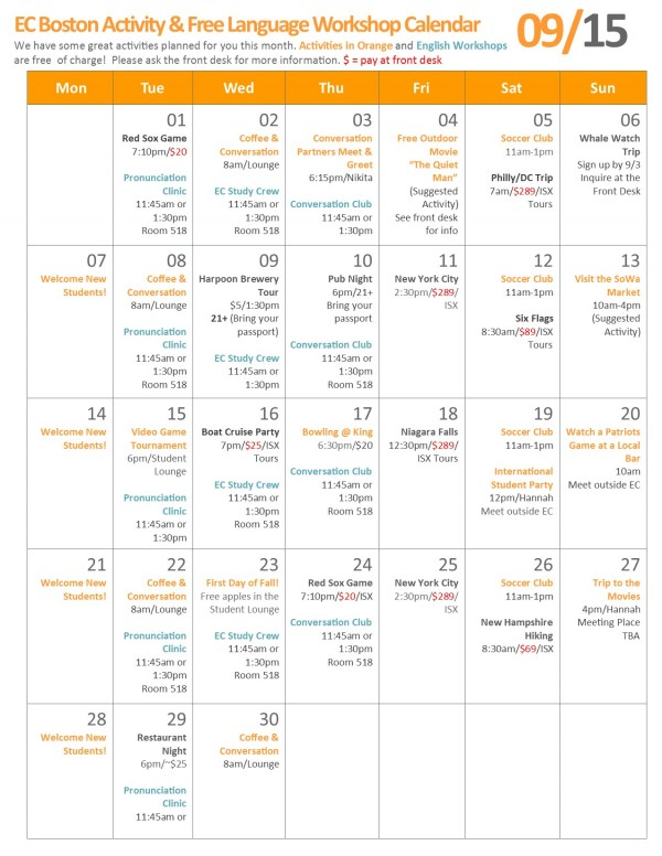 What's Going on at EC Boston? September's Activity Calendar!