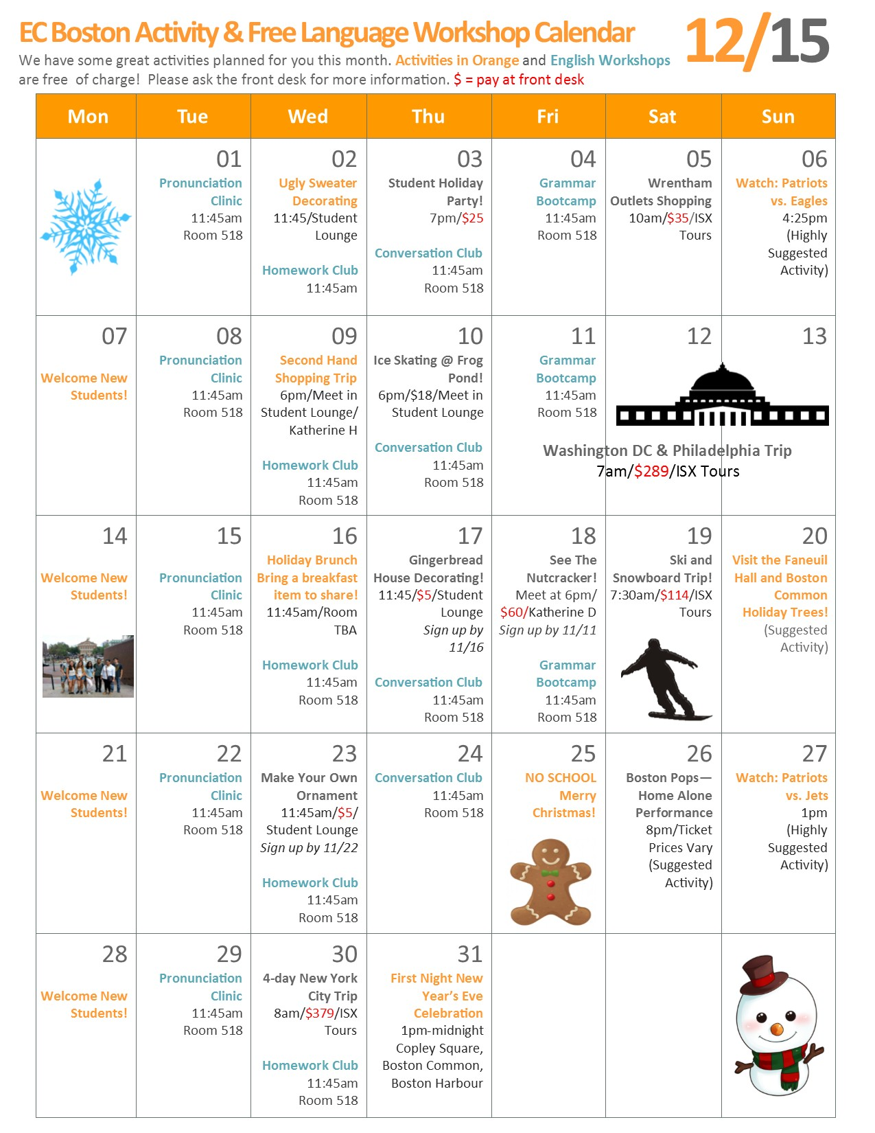 December 2015 Calendar - In Progress