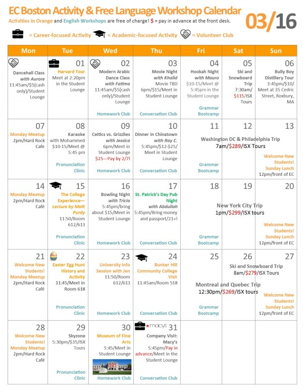 EC Boston English School Activity Calendar: March 2016