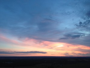 Mid-summer sunrise from Jack & Jill - South Downs hills just north of Brighton