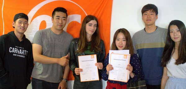 Gain with her certificate for learning English at EC Brighton