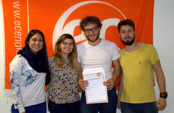 Sebastien with his certificate after studying at EC Brighton
