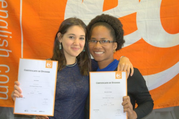 Bernadine and Ines with their certificates for learning English at EC Brighton