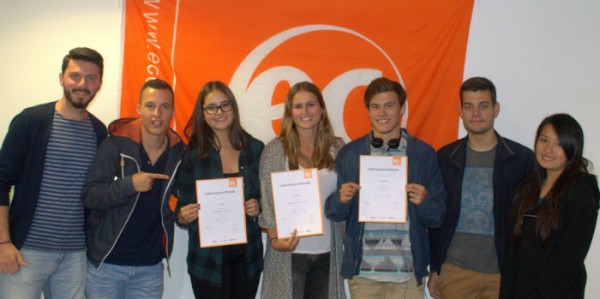Bjorn and Femke with their certificates for learning English at EC Brighton