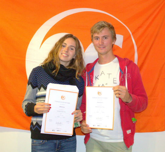 Clement and Mathilde with their certificates for studying English at EC Brighton