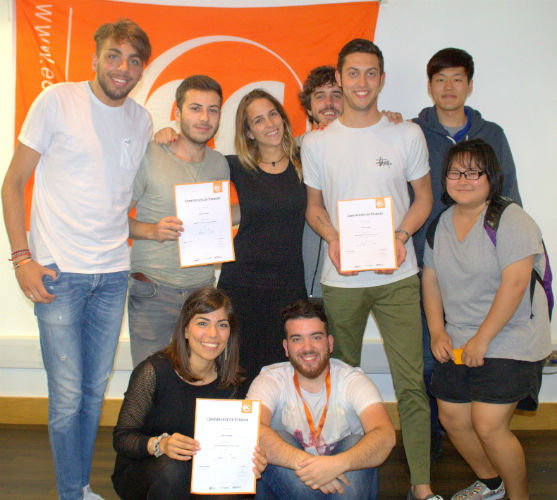 Edoardo, Davide and Silvia with their certificates for learning English at EC Brighton