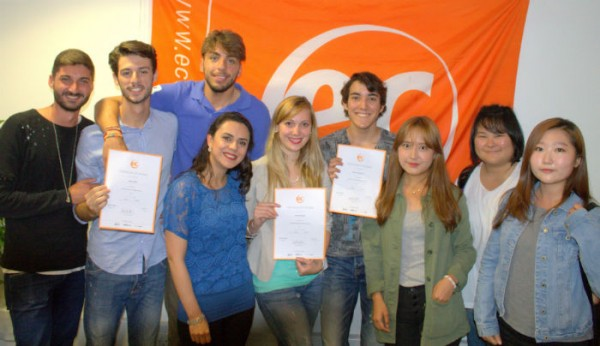 Elisa, Federico and Breno with their certificates for learning English at EC Brighton