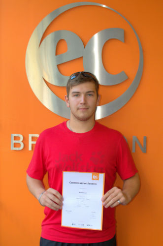 Martin with his certificate for learning English at EC Brighton