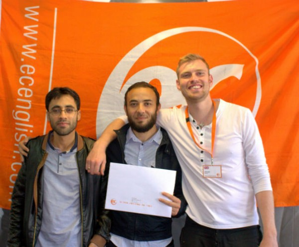 Mohamed with his certificate for learning English at EC Brighton