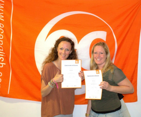 Sabrina and Nadine with their certificates for learning English for Work