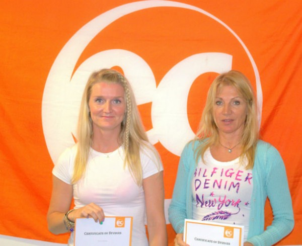 Zlata & Miroslava with their certificates for learning English at EC Brighton