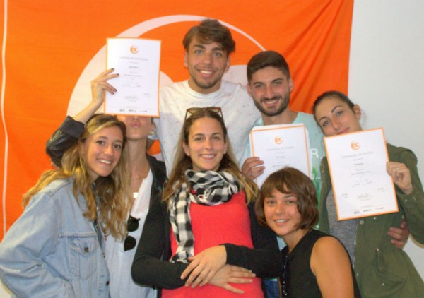 Dario, Elia and Roberta with their certificates for learning English at EC Brighton