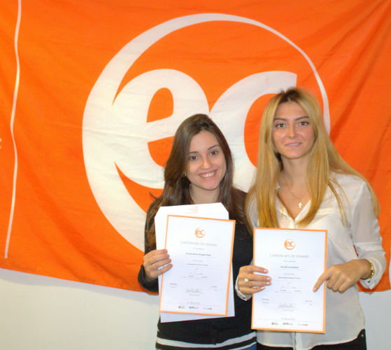 Ilona with her certificate for studying English at EC Brighton