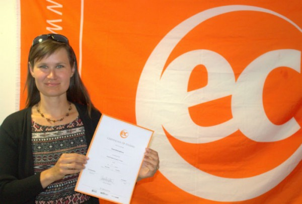 Kveta with her certificate for learning English at EC Brighton English School