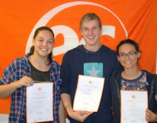 Silvia and Nils with their certificates for learning English at EC Brighton