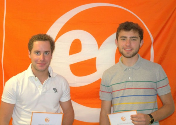 Maxime with his certificate for learning English at EC Brighton