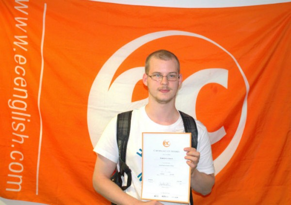 Moritz with his certificate for learning English at EC Brighton English School