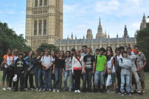 London group outside the Houses of Parliament