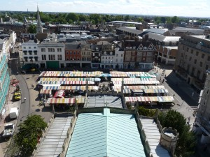 Cambridge market on market day. A hive of activity!