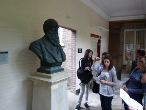Charles Darwin's bust in the college.