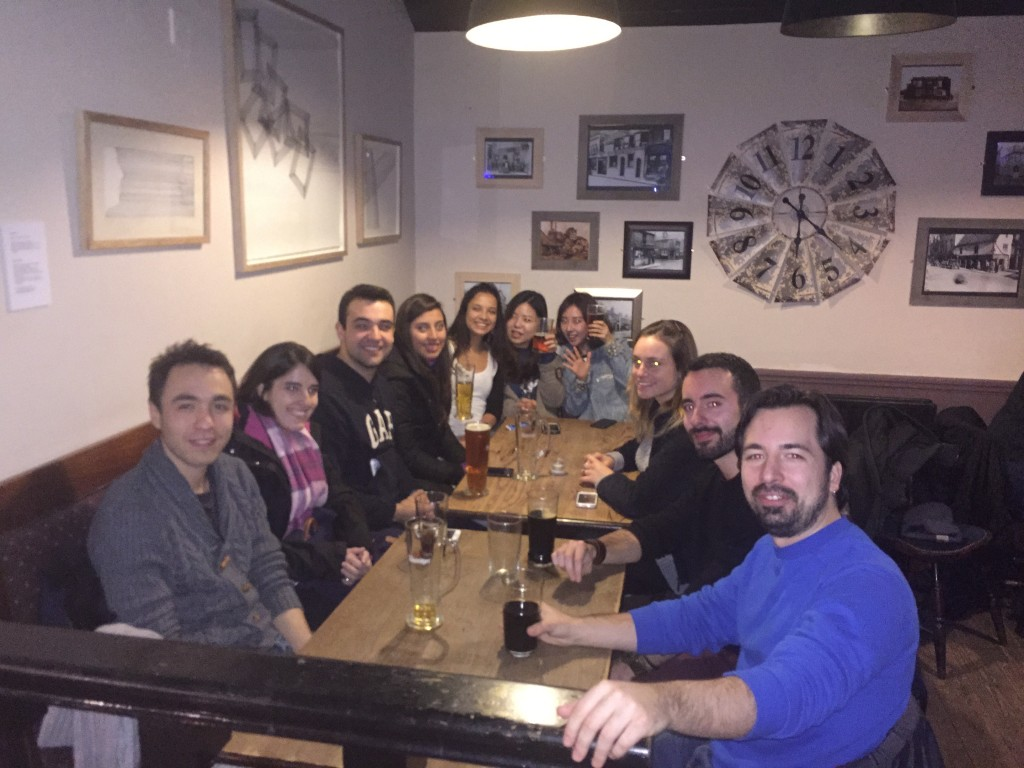 Students on pub night at EC Cambridge