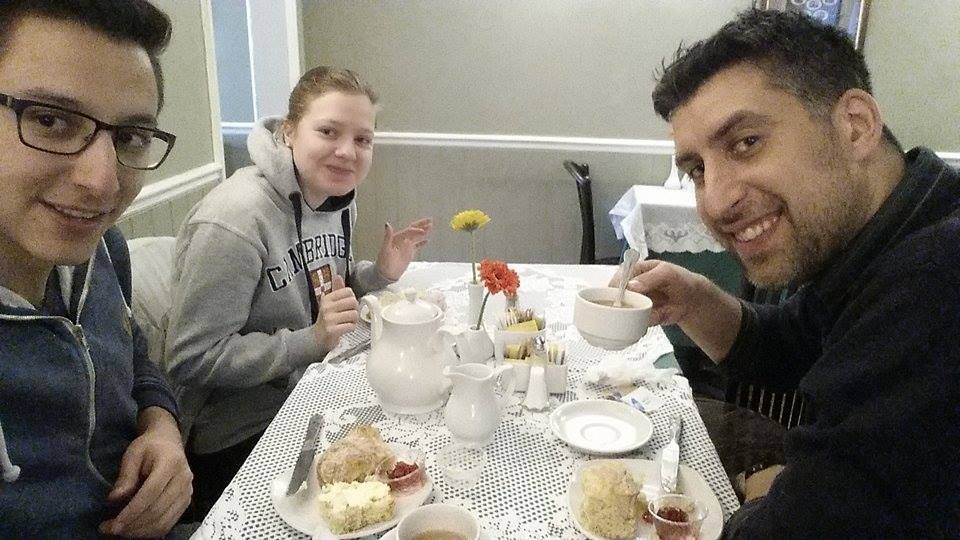 EC students enjoying a traditional cream tea
