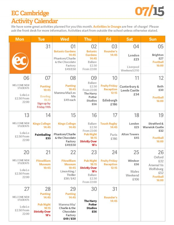 July's Activity Programme at EC Cambridge English School