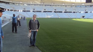 Standing near the pitch