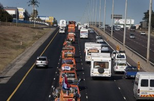 The 6km convoy of cars, campers, trucks and busses
