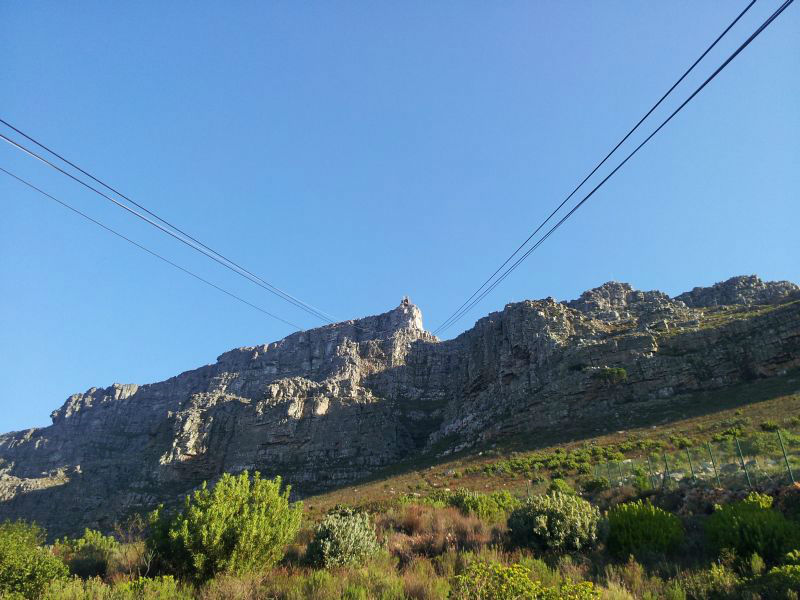 View of Cable car lines going up Table Mountain