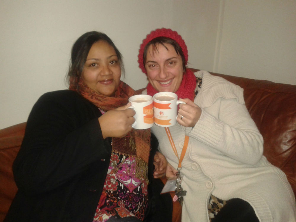 Our Accommodations Officer, Rifqah Brenner (Left) and Director of Studies, Nicoletta Di Gia (Right), enjoying a delicious cup of hot choc.