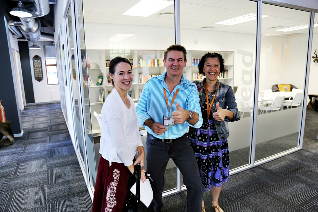 Monica, Hardie and Anthea ready for the launch of EC Cape Town's New School!