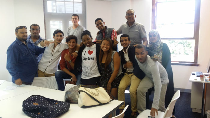 Janice and her classmates at EC Language school Cape Town