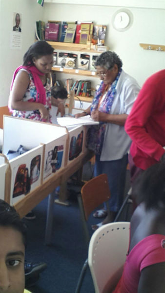 Janice was a regular at the listening centre. Here she is with Una, at the old EC Cape Town language school.