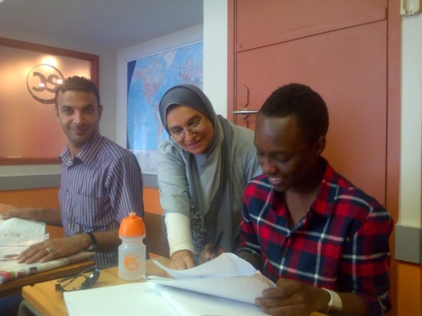 Ahmed and classmate with teacher Nurjaan at the previous EC Cape Town English Language school