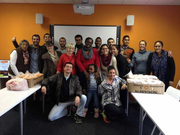 The group of EC Cape Town volunteers finally done with our sandwiches and about to head off to do our 67 minutes for Mandela