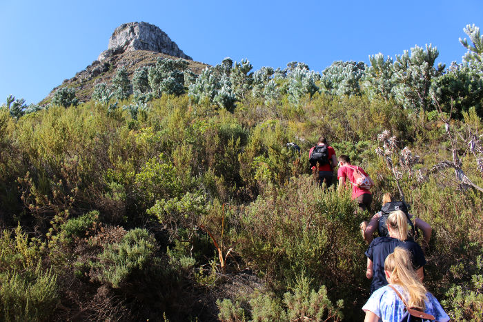 EC Cape Town students on a mountain hike to Wally's Cave