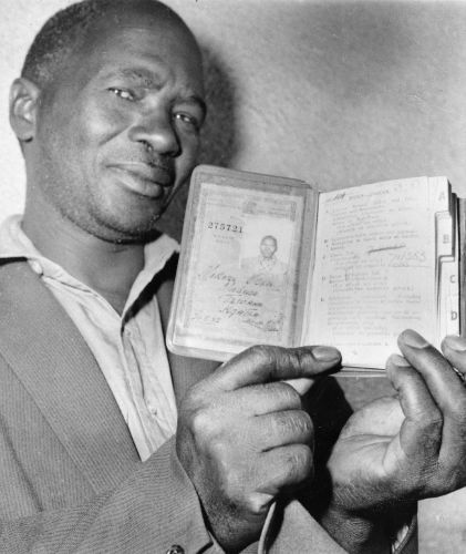 This is the passport or 'dompas' that all Black men had to carry in order to mover around the country