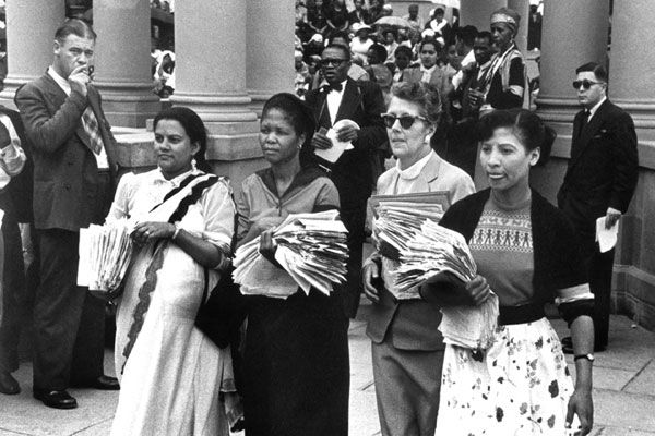 These women were at the forefront of the march that day.