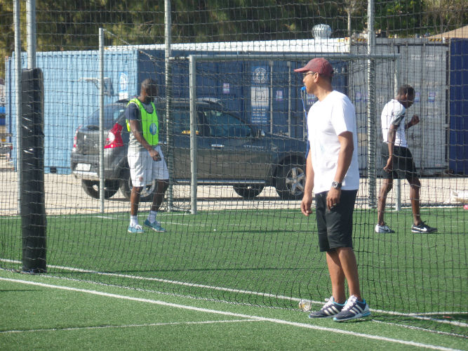 Teacher Mark is the coach and referee at the games between Ec Cape Town and other language schools