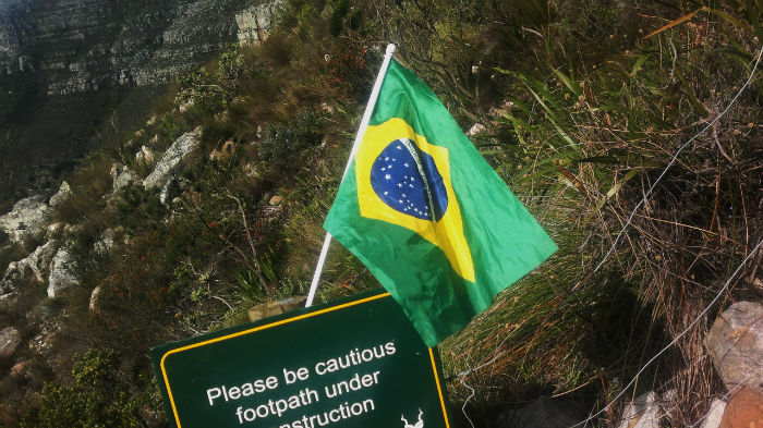A momento left by another hiker. EC Cape Town is host to many Brazilian students