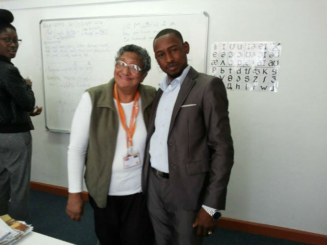 Abdalla and his teacher Una at EC Cape Town