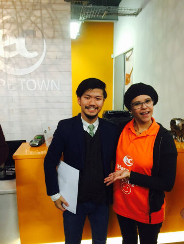 This is Tetsuto on his graduation day from EC Cape Town