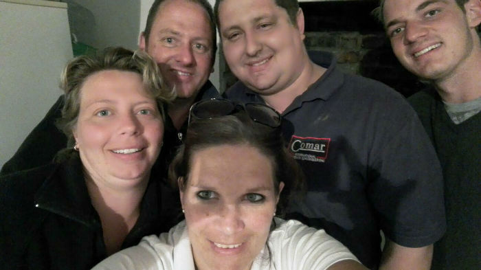 Michelle, Frikkie, Stacy and her husband. That's me at the back!