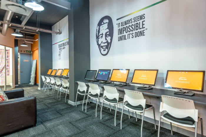 The student's computer area at EC Cape Town