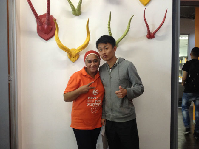 Yusuke with one of the administrative staff at EC Cape Town